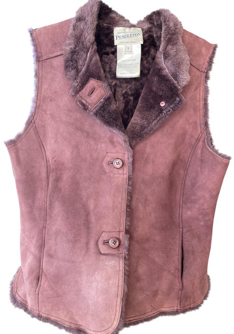 Item - Aubergine Vintage Suede and Sheared Lamb Vest Size 4 (S)