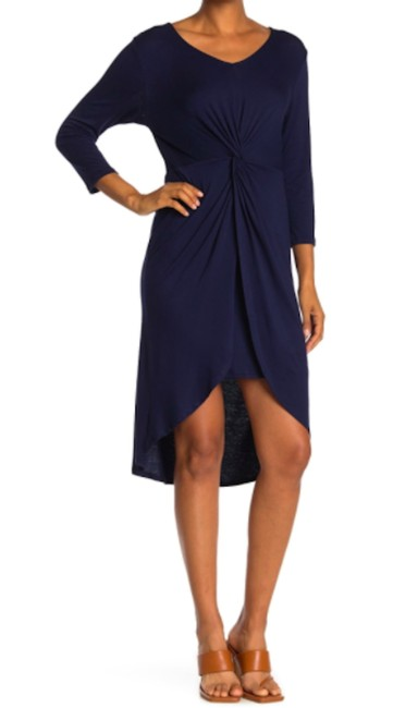 Item - Navy Blue XS Knit Twisty Nordstrom High Low Mid-length Short Casual Dress Size 2 (XS)