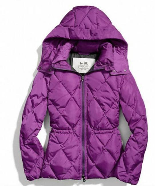 Item - Purple Down Hooded Short Puffer Jacket Coat Size 6 (S)