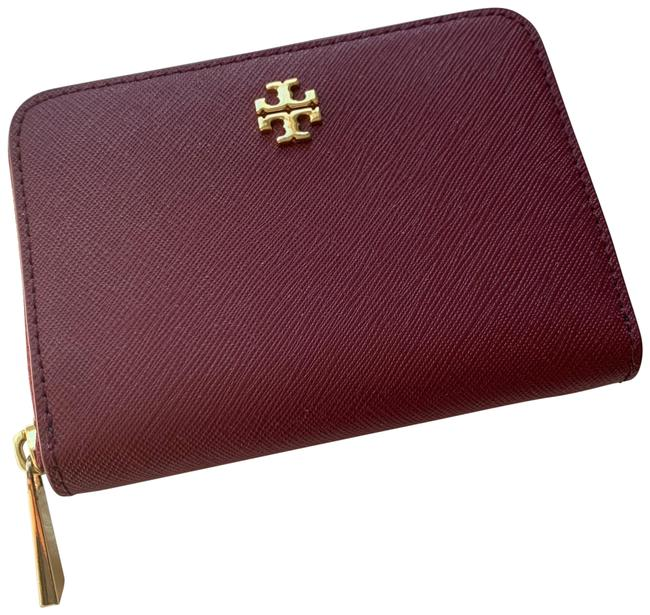 Item - Robinson Maroon Red Zip Coin Wallet Euc Burgundy Leather Wristlet