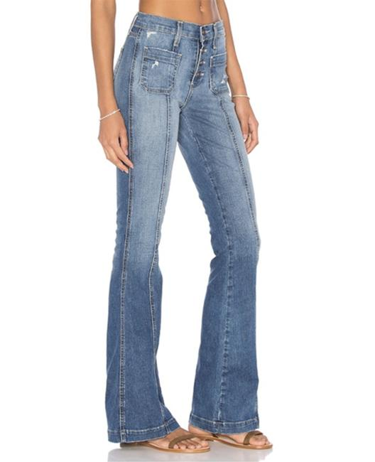 Current/Elliott Blue Distressed The Judi Mary Jane Destroy Flare Leg Jeans Size 27 (4, S) Current/Elliott Blue Distressed The Judi Mary Jane Destroy Flare Leg Jeans Size 27 (4, S) Image 1