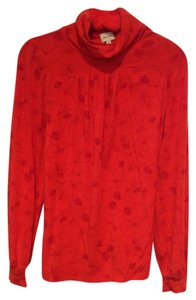 Ella Moss Print Romantic Comfortable T Shirt Red