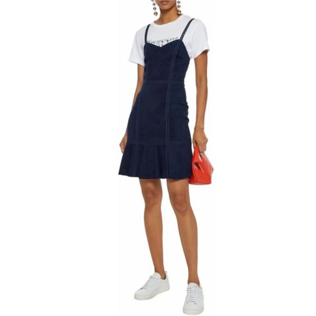 Item - Navy Desmond Sweetheart Neck Fit & Flare Leather Suede Short Casual Dress Size 6 (S)
