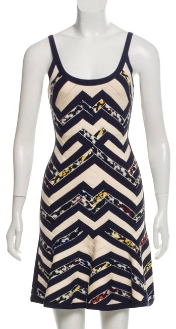 Item - Blue and White and Multi-color August Bandage Short Cocktail Dress Size 0 (XS)