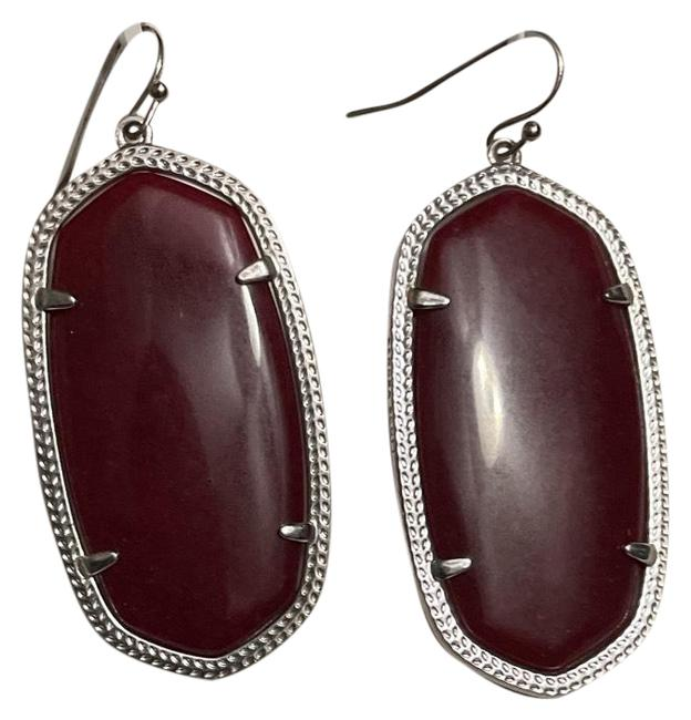 Item - Maroon Elle and Silver Color Border Earrings Necklace