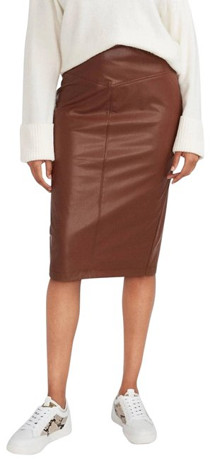 Item - Brown Women's Vegan Leather Seamed Pencil Skirt Size 6 (S, 28)