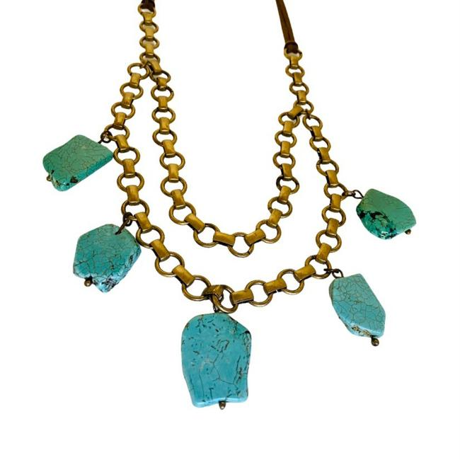 Item - Turquoise Chunky Antique Gold Chain Necklace