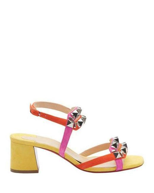 Item - Yellow Orange Pink Galerietta 55 Colorblock Suede Studded Spike Sandals Heel Mules/Slides Size EU 36.5 (Approx. US 6.5) Regular (M, B)