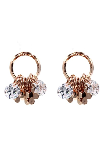 Item - Rose Gold Small Flower Piece Crystal Earrings