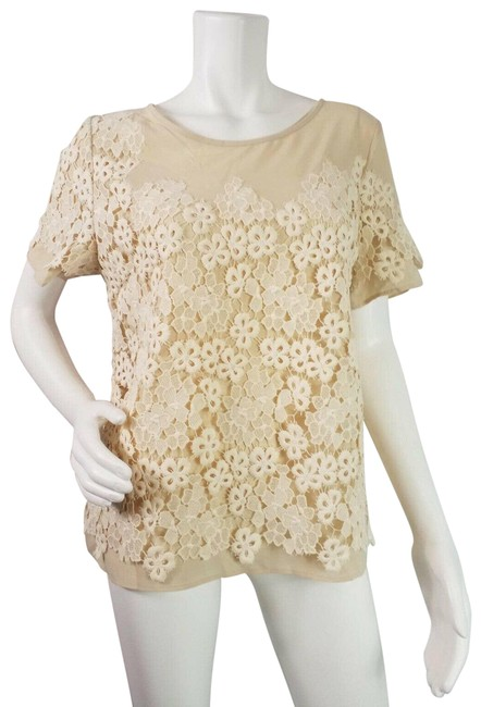 Item - Ivory Lace Overlay Crew Neck Short Sleeve Pullover Blouse Size 8 (M)