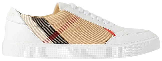 Item - Beige Checked Canvas and Leather Sneakers Size EU 37 (Approx. US 7) Regular (M, B)