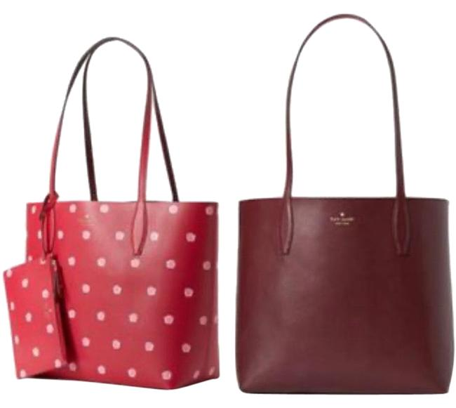 Item - Reversible Snails Tote/Wristlet Red/Burgundy/Pink/Gold Leather Tote