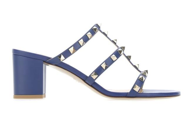 Item - Blue Rockstud 52p City Slide 60mm Mule Caged Sandal Block Heel Pumps Size EU 40.5 (Approx. US 10.5) Regular (M, B)