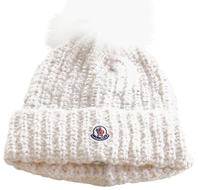 Item - White Berretto Tricot Crystal-embellished Fur Pompom Beanie In Hat