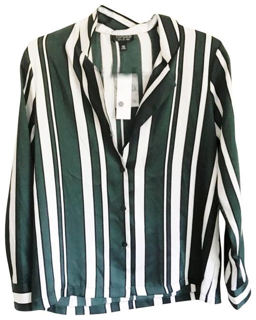 Item - Green Striped Button Front Long Sleeve Blouse Size 6 (S)