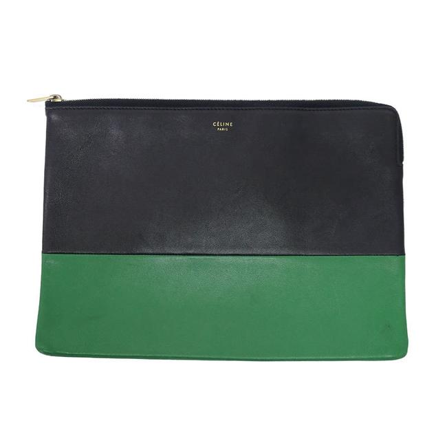 Item - Bicolor Green / Navy Leather Clutch