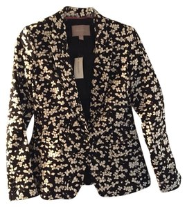Banana Republic Black White And Metallic Gold Blazer
