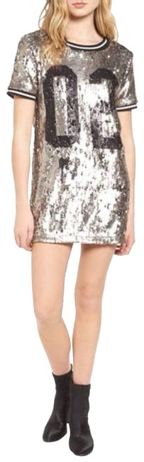 Item - Silver Jersey Football Sequin Dress/ S Night Out Dress Size 4 (S)