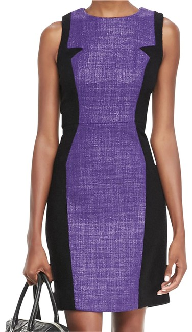 Item - Purple & Black Two-tone Wool and Shinny Tweed Sleeveless Sheath Short Work/Office Dress Size 2 (XS)