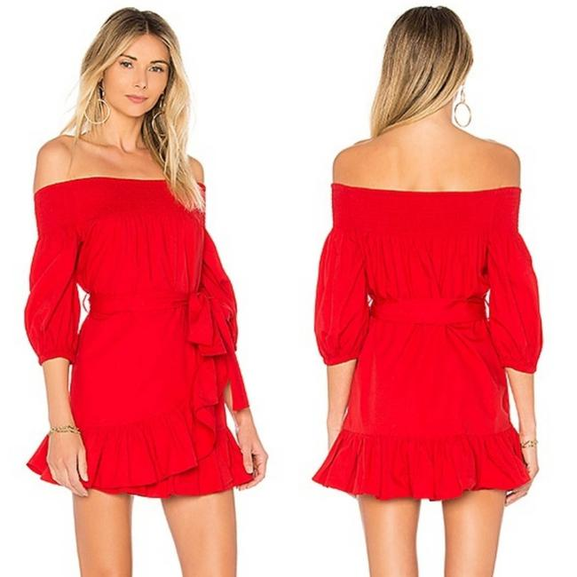 Item - Red Poppy Maida Ruffle Off The Shoulder Short Casual Dress Size 4 (S)