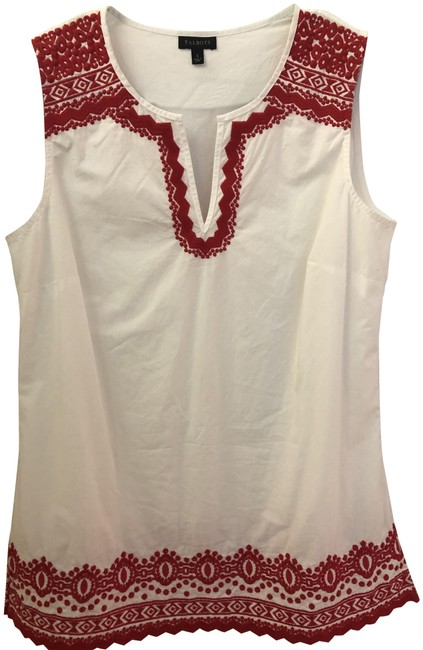 Item - White Red Cotton Blouse Size 6 (S)