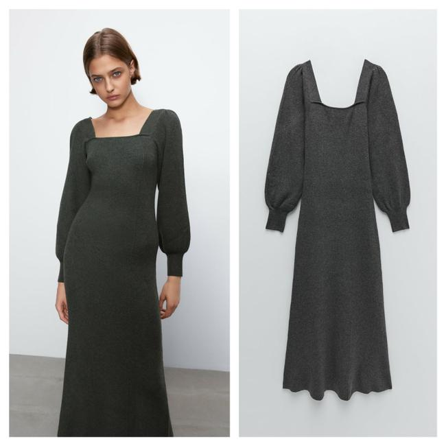 Item - Grey Balloon Puff Sleeve Knit Midi Mid-length Casual Maxi Dress Size 8 (M)