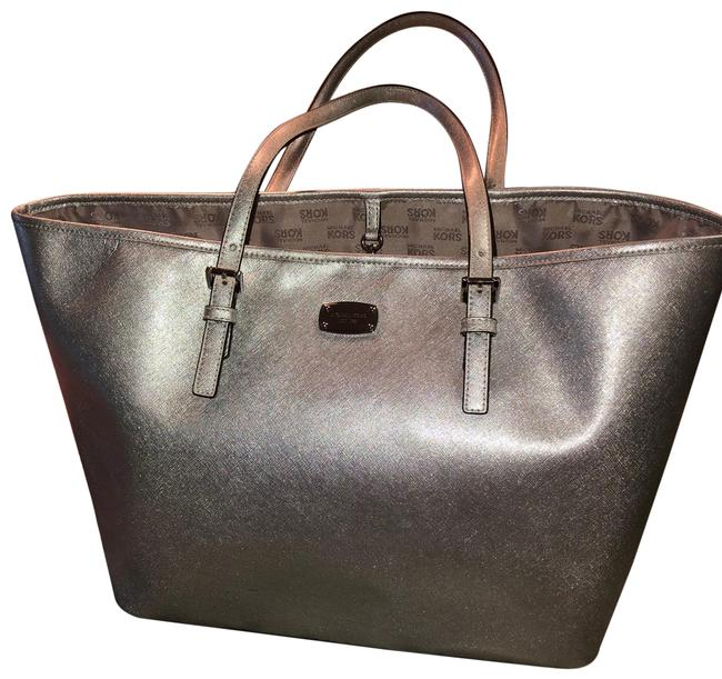Item - Large Silver Leather Tote