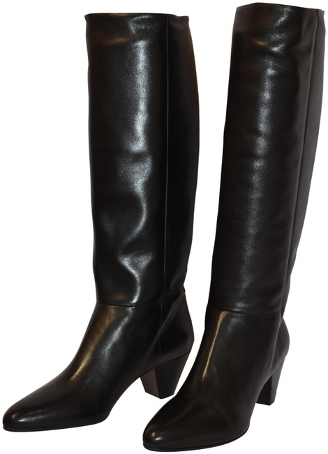 Item - Black 5w225c Leather Pull On Heel Classic Knee High Italy Boots/Booties Size EU 41 (Approx. US 11) Regular (M, B)