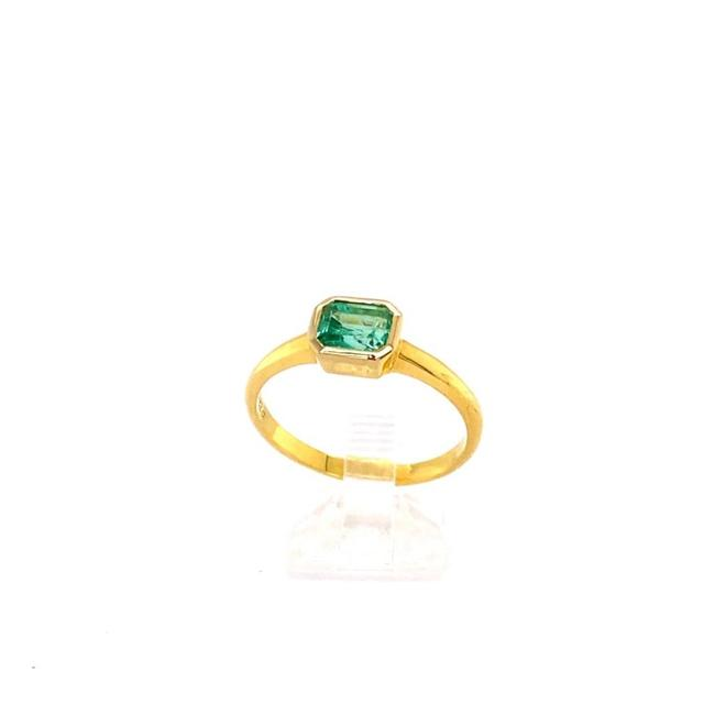 Item - Green 0.82ct Emerald 18k Yg 3.41gm Ring