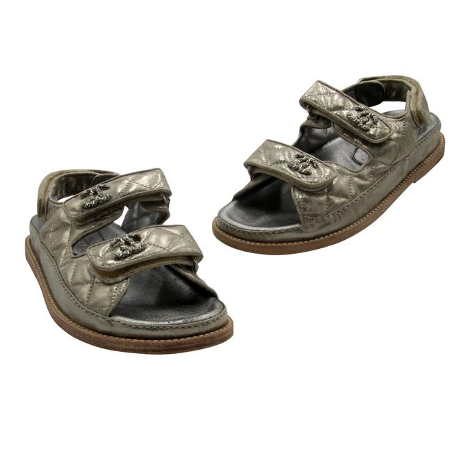Item - Metallic Quilted Leather Cc Logo Dad Sandals Size EU 37 (Approx. US 7) Regular (M, B)