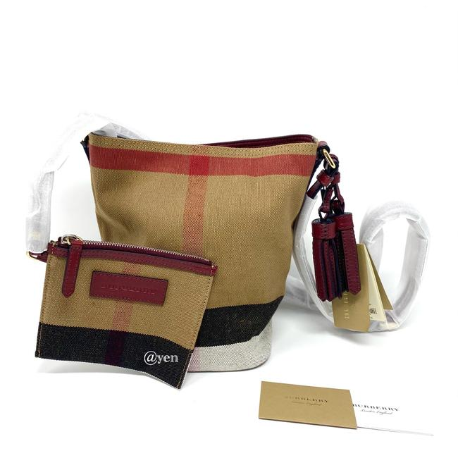 Item - Mini Ashby Tassels Check with Pouch Shoulder/ Burgundy Red Canvas Leather Cross Body Bag
