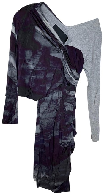 Item - Gray + Purple Rn 113476 Mid-length Night Out Dress Size 2 (XS)