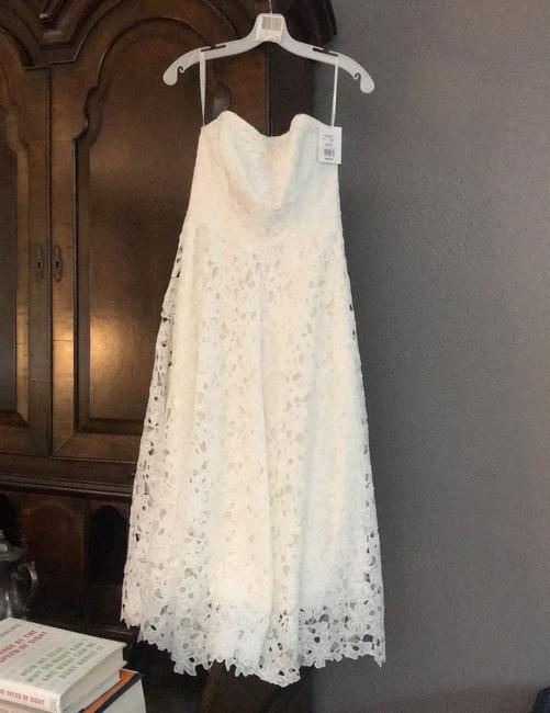 Item - Ivory Lace Strapless Floral Cutout Midi Casual Wedding Dress Size 4 (S)
