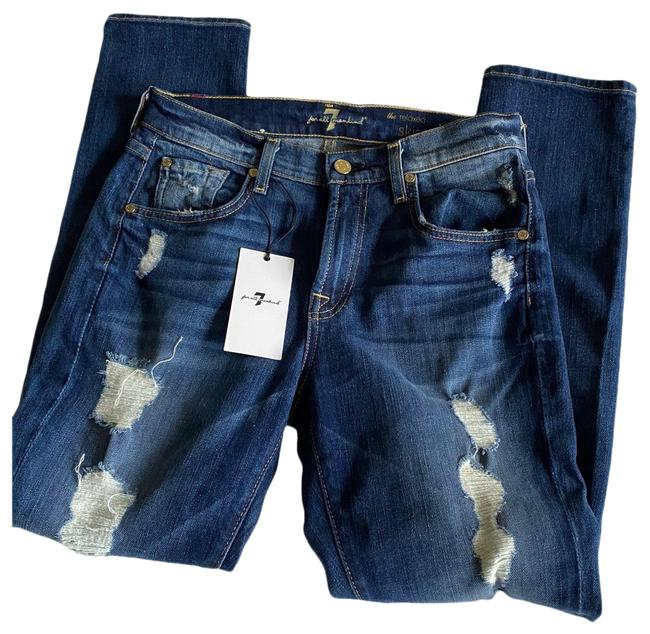 Item - Blue Medium Wash Distressed Skinny Relaxed Fit Jeans Size 0 (XS, 25)