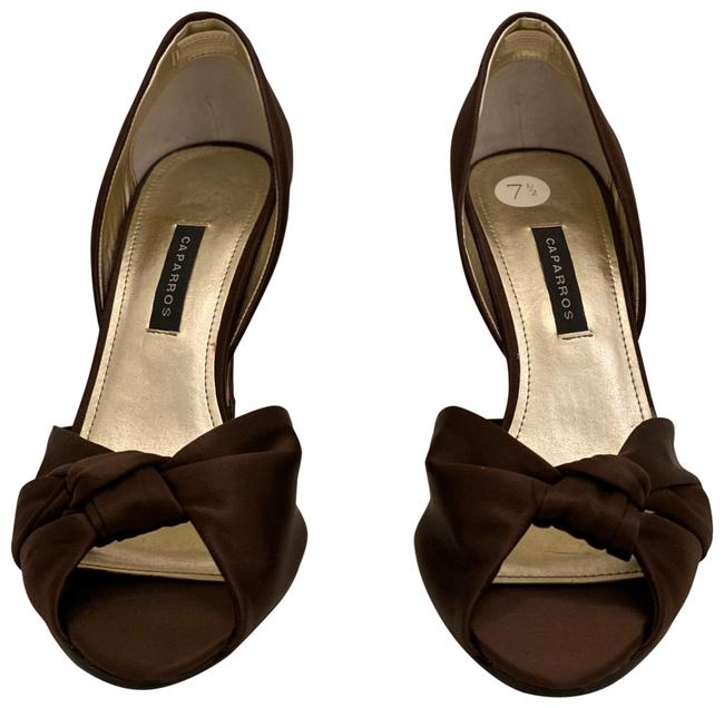Item - Brown Open Toe Knotted Pumps Size US 7.5 Regular (M, B)