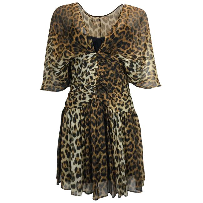 Item - Brown Animal Print Silk Mini Cocktail Dress Size 4 (S)