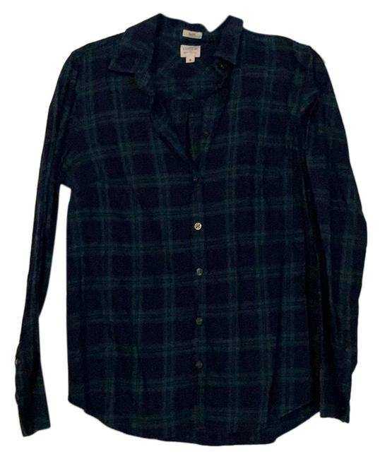 Item - Navy and Green Button Up Plaid Shirt Button-down Top Size 6 (S)
