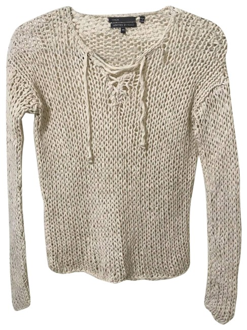 Item - XS Cream Hand Knit Loose Lace Up Long Sleeve Beige Sweater
