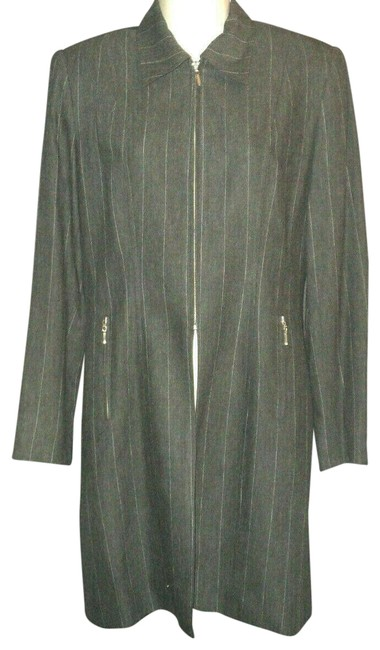 Item - Gray with Light Pinstripes Top Half Zipped Lightweight Lined Zipped Pockets Coat Size 6 (S)
