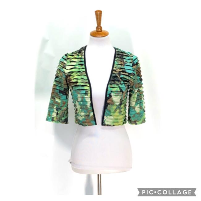 Item - Green Tiered Cropped Bolero Jacket Size 4 (S)