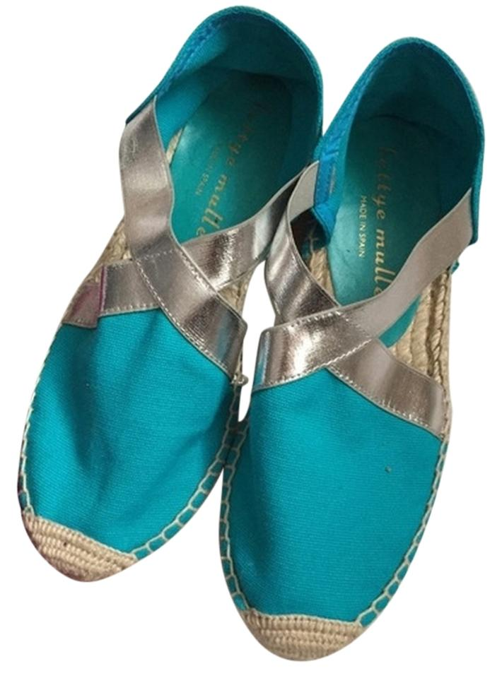 fae5373619d579 Bettye Muller Turquoise New with Tag Lasso Stretch Metallic Espadrilles  Sandals