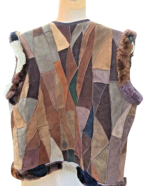 Item - Brown Suede Patchwork Shearling Vest Size 6 (S)