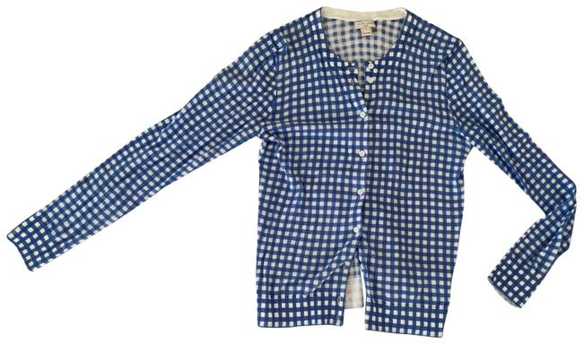 Item - Blue Caryn White Gingham S Cotton Cardigan Size 4 (S)