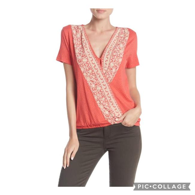 Item - Melon Orange Faux Wrap Short Sleeve Blouse Size 6 (S)