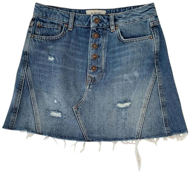 Item - Blue We The Button Front Distressed Denim Skirt Size 4 (S, 27)