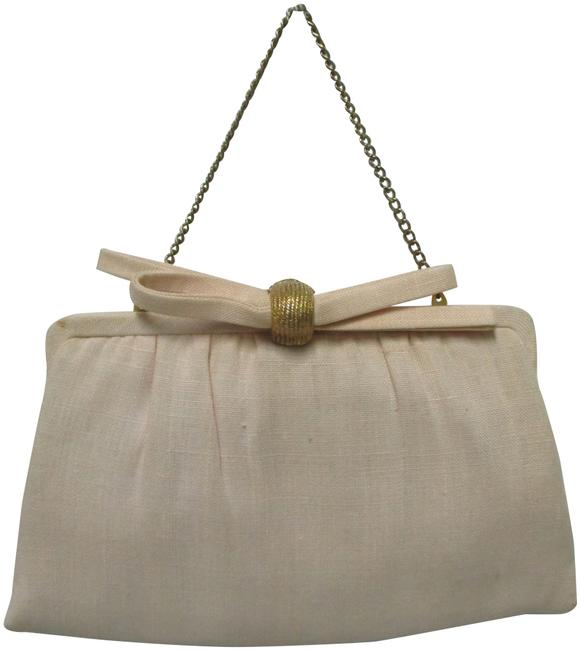 Item - Vintage Handbag Purse Or Clasp Attached Coin Purse Ivory Fabric Clutch