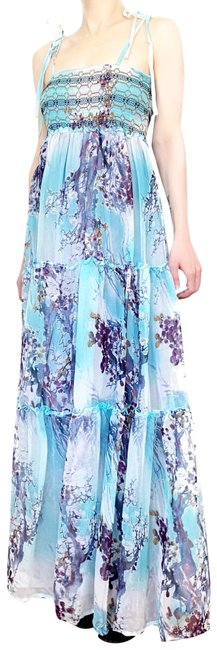 Item - Teal 70's Style Floral Tie Strap Smocked Chiffon Long Casual Maxi Dress Size 4 (S)