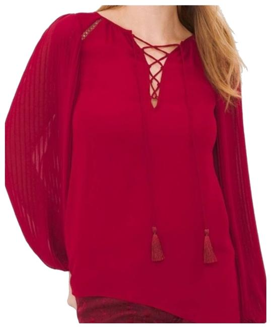 Item - Red Whbm Pleated Balloon Sleeve Blouse Size 10 (M)