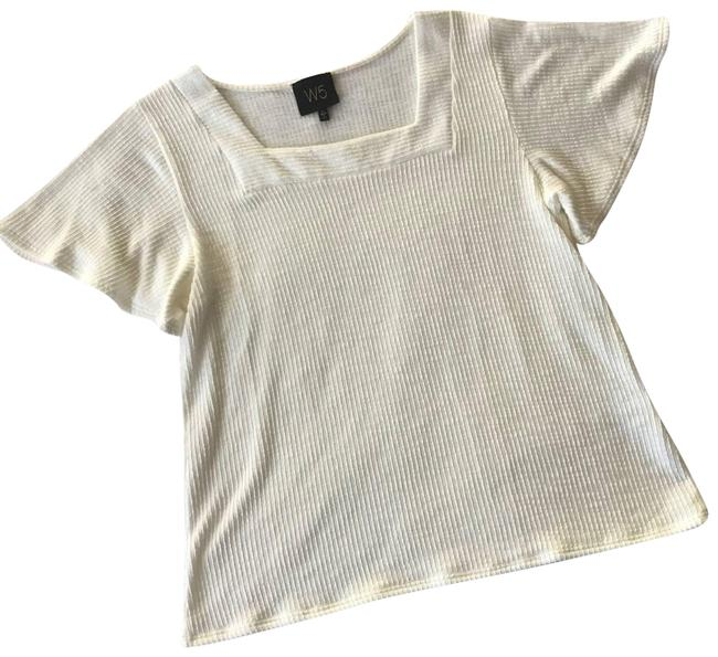Item - Cream L W5 Ivory Ribbed Square Neck Flutter Sleeve Blouse Size 12 (L)