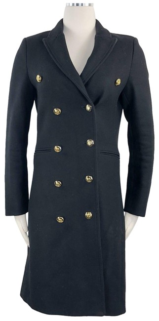Item - Black Wool Double Breasted Slim Tailored Military Style Gold Brass Acc Coat Size 4 (S)